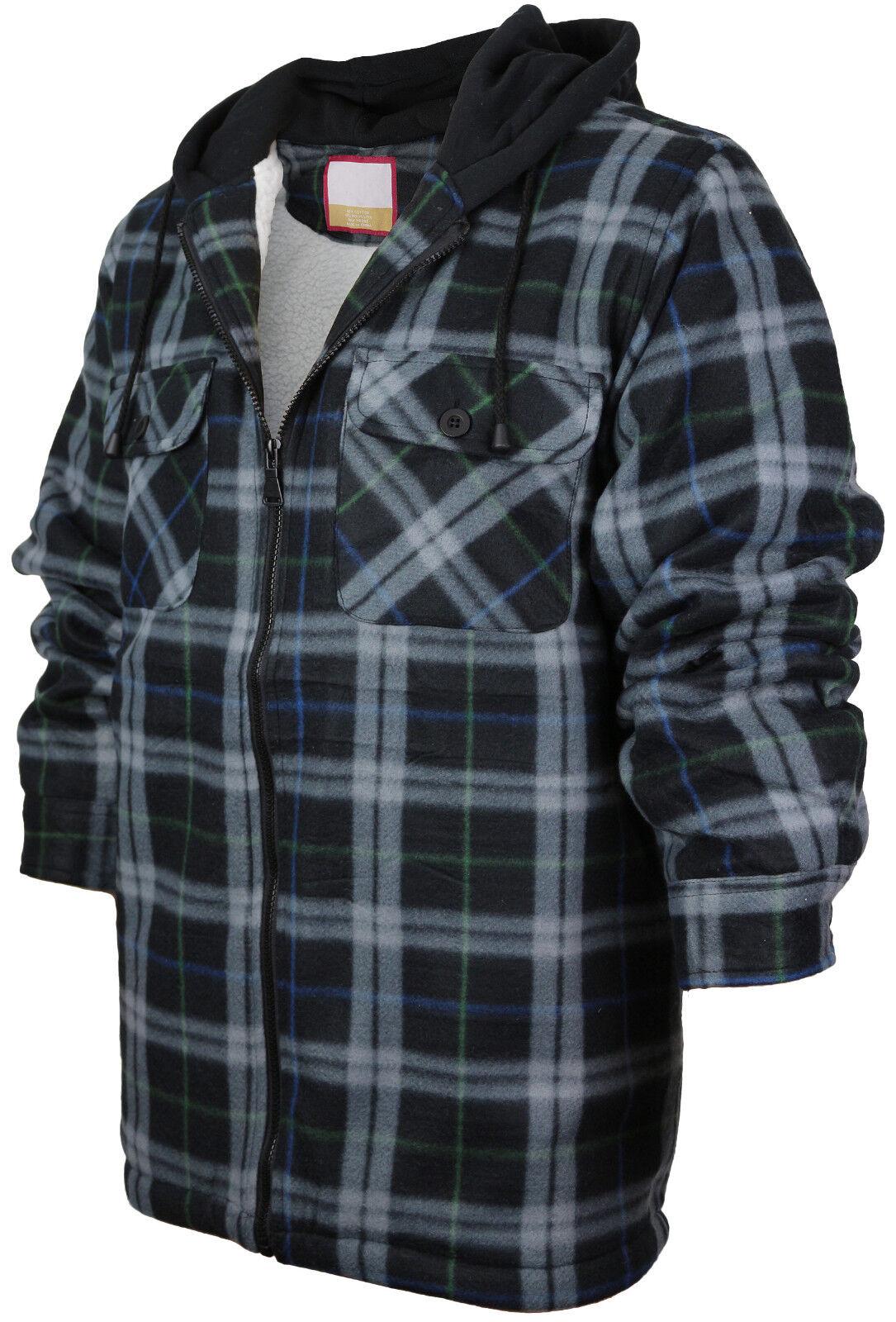 Men's Heavy Fleece Lined Sherpa Hoodie Plaid Flannel Jacket With Hood E02 - Black Grey Green