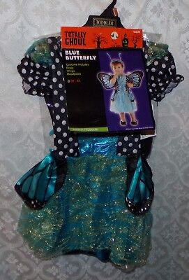 Blauer Schmetterling Halloween Kostüm Mädchen Neu 2t 4t Fee Kostüm ()