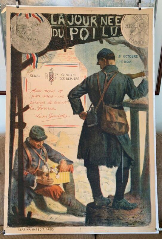 "WW1 French poster 1915 ""la jour nee du poilu"