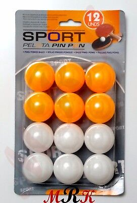 12x  PING PONG RACKETS PACK SET BALLS ORANGE & WHITE SPORTS TABLE TENNIS BALLS