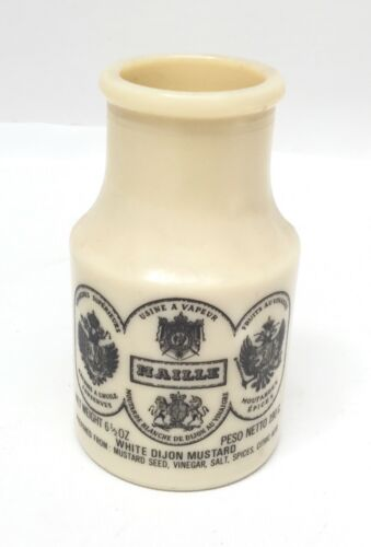 Vintage Maille Mustard France Milk Glass Jar Bottle Decor