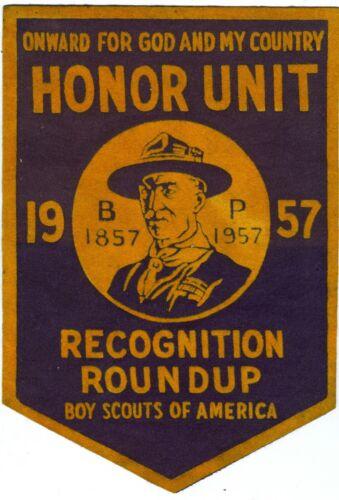 EXCELLENT1957 Baden Powell Centennial Honor Unit Recognition Roundup FELT Banner