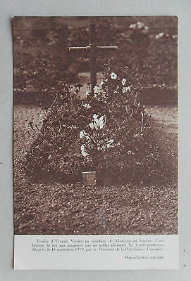 c1918 Postcard. YVONNE VIESLET. Belgian Child Heroine of World War One. Tomb
