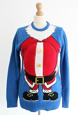 Funny Big Belly Santa Christmas Jumper Novelty Blue Mens Womens Unisex Size S