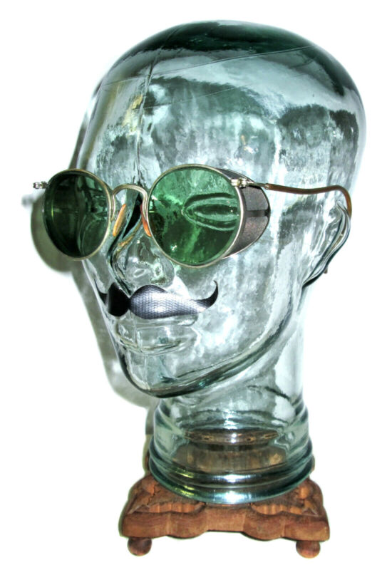 Antique American Optical Ful Vue Green Sunglasses Goggles Vtg Old AO Steampunk
