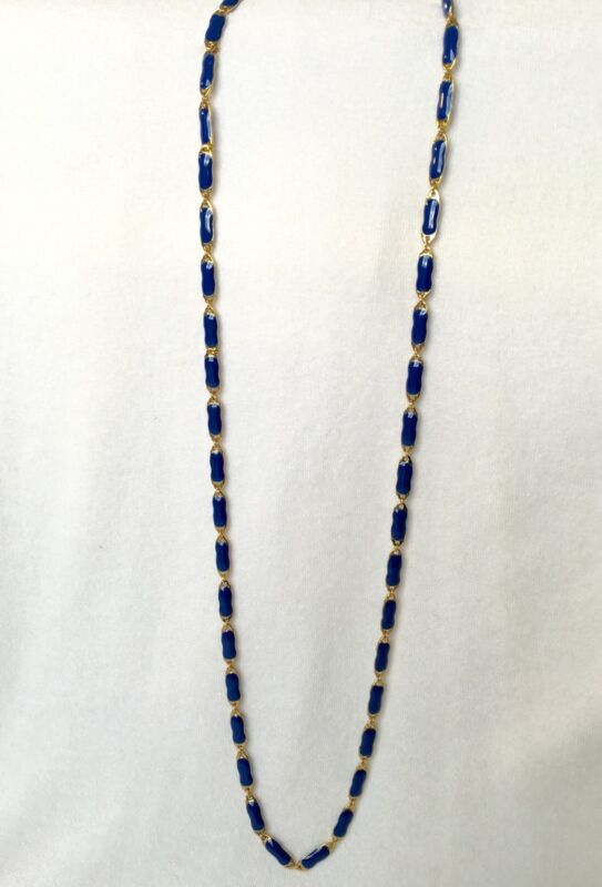 "J CREW Royal Blue Enamel Long Gold Plated Chain Necklace New $68 41"" long J.Crew"
