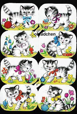 # GLANZBILDER # Krüger 98-72, 8 verspielte Katzen, Bogen in 1 A Zustand, selten