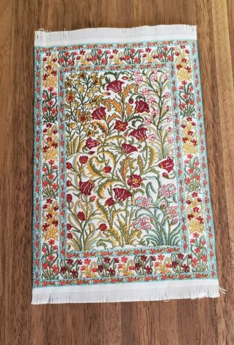 "Dollhouse Miniature Rug Art Nouveau Floral Red & Gold 6 1/4"" x 3 3/4"" 1:12 Scale"