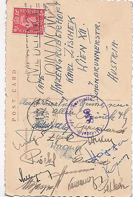 16 Autogramme Nationalmannschaft Österreich 1951 vom Freundschaftsspiel England