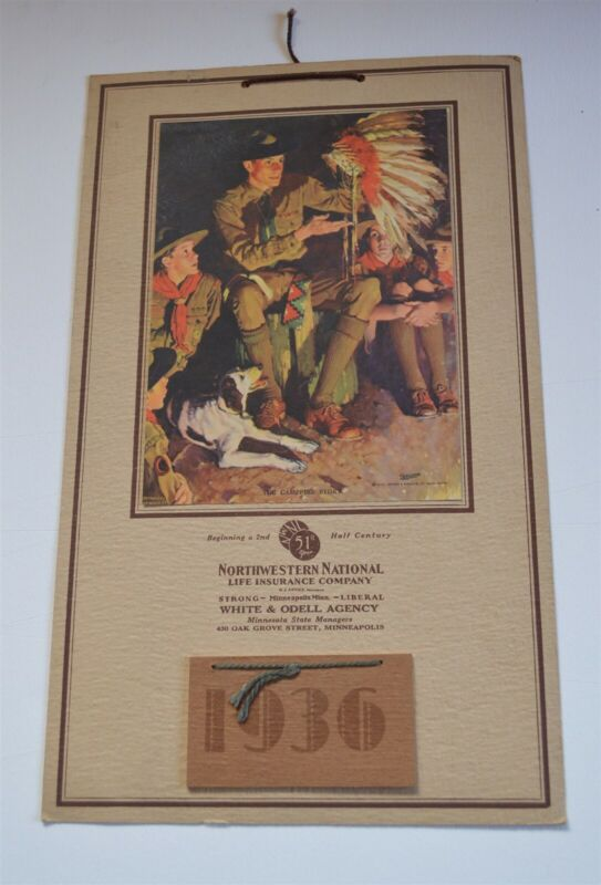 1936 Boy scouts Norman Rockwell Calendar Campfire Leader with Indian War Bonnet