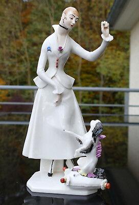 """Seltene Nymphenburg Porzellan Figur """" Vornehme Dame mit Hündchen """" !!!"""