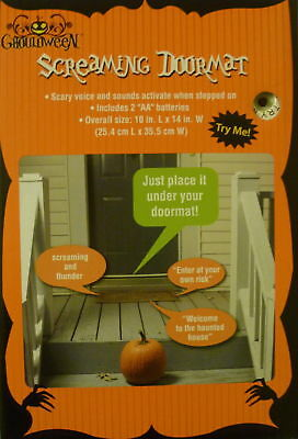 HALLOWEEN SCREAMING DOORMAT ENTER AT YOUR OWN RISK WELCOME TO HAUNTED HOUSE - Screaming Doormat