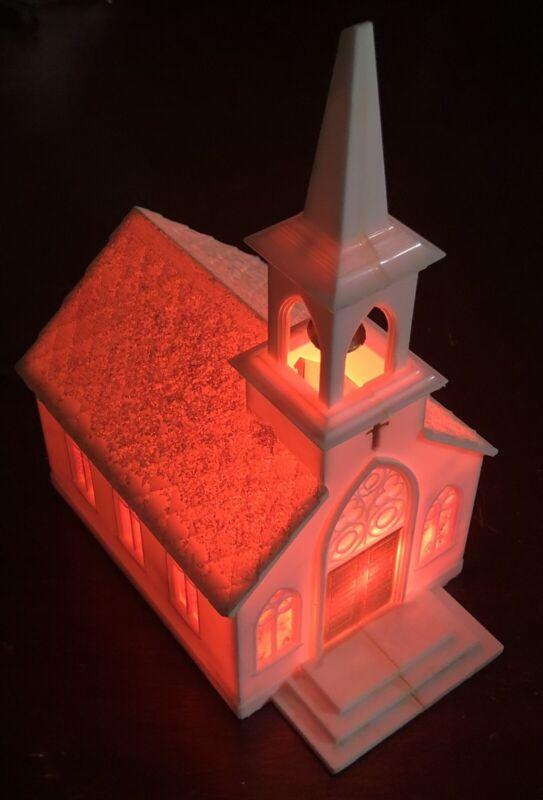 VINTAGE MUSICAL LIGHT UP HARD PLASTIC CHURCH STEEPLE 1960