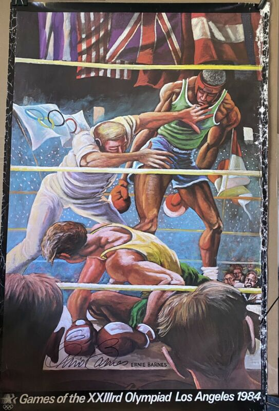 vintage 1984 Signed Autographed Ernie Barnes Poster Los Angeles Olympics Boxing