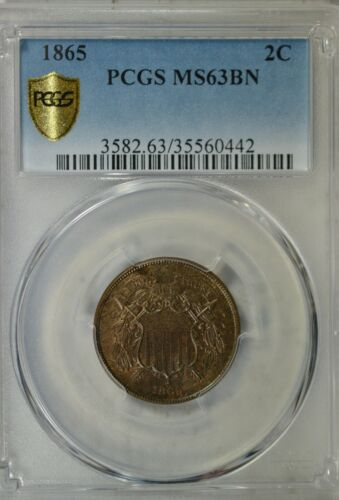 1865 2 c, PCGS MS63 BN