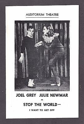 """Joel Grey """"STOP THE WORLD"""" Julie Newmar / Anthony Newley 1963 Rochester Playbill"""