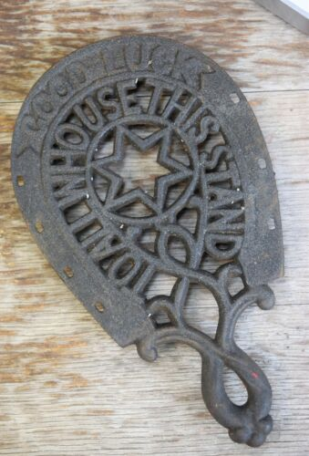 Vtg Wilton Good Luck to All Who Use This Stand Cast Iron Trivit