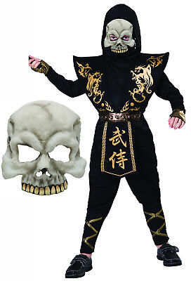Boys Childs Kids Black Gold Ninja Halloween Zombie - Kids Zombie Ninja Kostüm