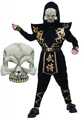 Boys Childs Kids Black Gold Ninja Halloween Zombie Skull Fancy Dress Costume ()