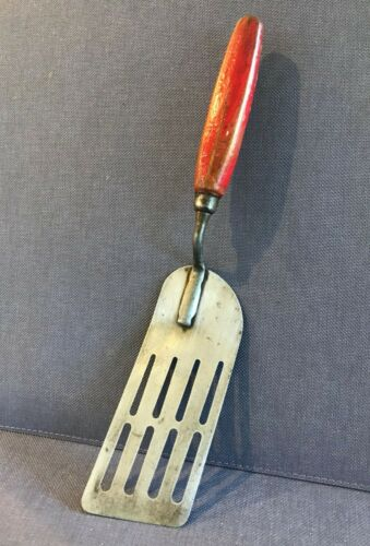 ANTIQUE Slotted Carbon Steel Spatula Flipper Turner Red 6 Sided Wood Handle 12""