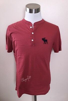 NWT Abercrombie & Fitch Men's BIG ICON HENLEY, Red, Medium