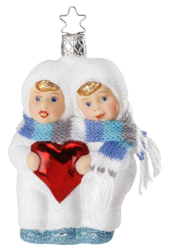 Snow Children Heartfelt Greetings Glass Ornament Inge Made in Germany Valentine