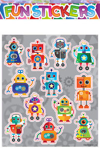 12 Sheets ROBOT Stickers Boys Childrens  Party Bag Fillers Kids Craft Toys