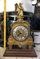 LARGE ANTIQUE FRENCH GILT BRONZE MANTEL CLOCK ATTRIBUTED TO HENRI PICARD 32 H