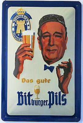 BITBURGER - PILS BIER REKLAME BLECHSCHILD 20 x 30 cm