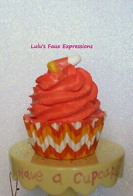 Faux CUPCAKES Fake Food HALLOWEEN CANDY CORN large chevron