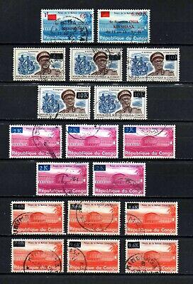 Belgisch Congo Belge Rep. Congo Kinshasa 18 used stamps with diff. Overprints