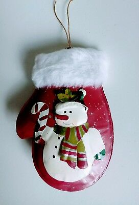 Metal 3D Red Mitten Snowman Christmas Ornament holiday decoration