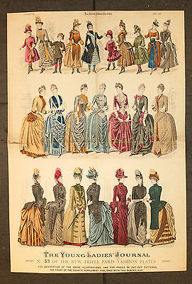 The Young Ladies Journal 1888 ORIGINAL Holzstich 64x43cm Mode Fashion Dresses