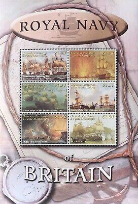 GRENADA ROYAL NAVY OF BRITAIN SHIP STAMPS SHEET 6V 2001 MNH SAILING SHIPS BOATS