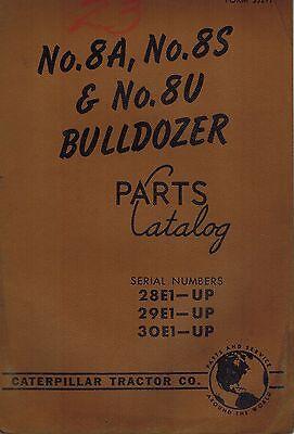 Caterpillar Vintage 8a 8s 8u Bulldozers Parts Catalog Manual