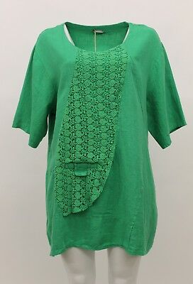 LA BASS WOMEN'S SPRING SUMMER LINEN PULLOVER SHIRT GREEN PLUS SIZE 2 for sale  Los Angeles