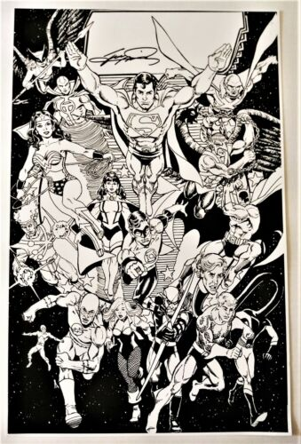 GEORGE PEREZ SIGNED JUSTICE LEAGUE 217 COVER PRINT!  FREE SHIPPING!