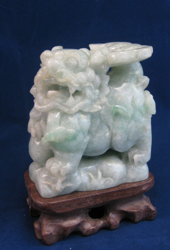 """Large Fine natural light green grade A  jade carved """"PI Xiu"""" statue(with stand)"""
