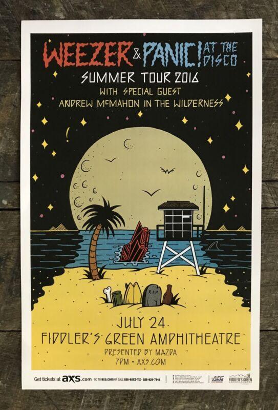 WEEZER & PANIC AT THE DISCO Summer Tour, 7-24-16, Denver, CO, Concert Poster