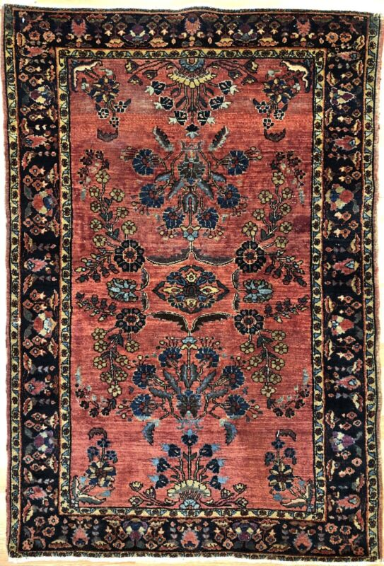 Fantastic Floral - 1920s Antique Oriental Rug - Handmade Carpet - 3.3 X 4.10 Ft.