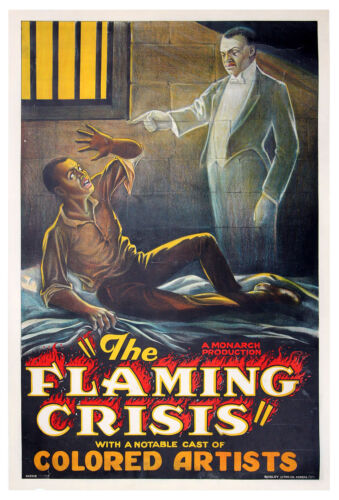 FLAMING CRISIS, THE (1924) Prison cell ghost variant one sheet poster RARE