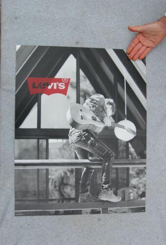 "Levi Strauss Advertising Poster 2010 Guitar Player Black & White Photo 28"" x 22"""