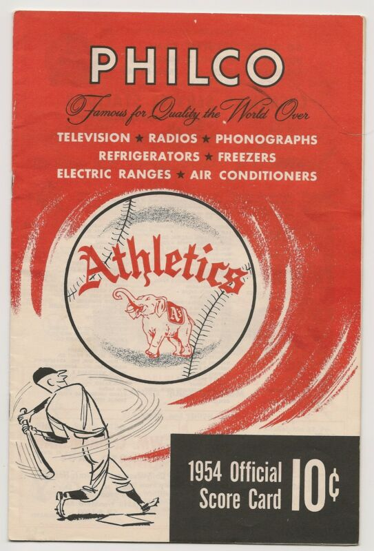 1954 Philadelphia A's-Orioles Program Athletics Last Year in Philly Nice!!