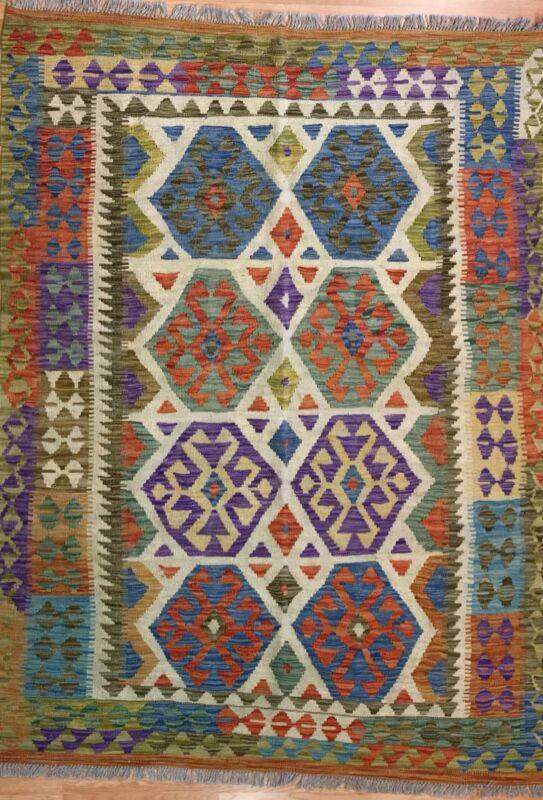 Crisp Colorful - New Kilim Rug - Flatweave Tribal Carpet - 4.10 X 6.6 Ft.