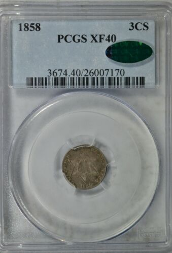 1858 3 cent silver, PCGS XF40 CAC