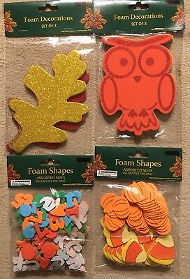 Lot of 4 fall themed foam decorations - owls leaves pumpkins candy corn NIP](Fall Themed Decorations)