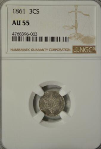 1861 2 cent silver, NGC AU55