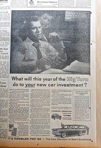 1959 newspaper ad for Rambler - The Year of the Big Turn , station wagon