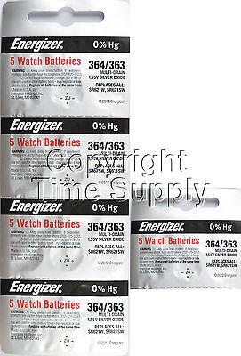 25 pcs 364 / 363 Energizer Watch Batteries SR621SW SR621 0% Hg