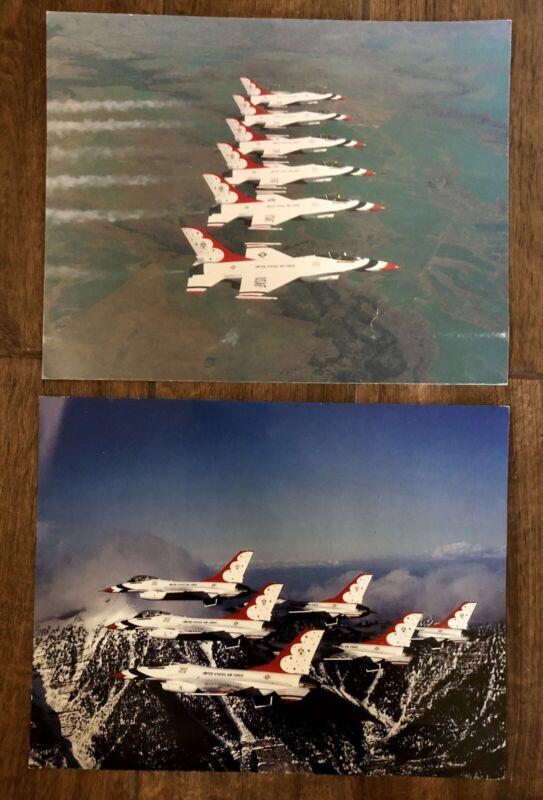 Pair of 2 Vintage 1980s USAF Thunderbirds Aircraft Poster Prints 14 x 11
